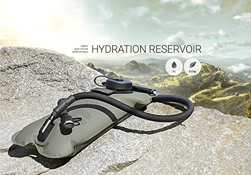 RIQIK Military Hydration Bladder with Clips to Hold Drinking Tube Premium Quality LeakProof Water Storage Tank Replacement Reservoir for Backpacks 3 L Capacity For Biking, Hiking, Traveling