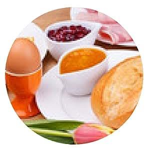 alfombrilla de ratón El desayuno con huevo, queso, salchichas, mermelada - ronda - 20cm