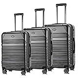 Travel Joy Luggage Set Expandable Suitcase Carry On TSA Locks Lightweight Spinner Wheels ABS+PC Premium Hardshell Luggage(DARK GREY-2, 3 pcs set(20'24'28'))