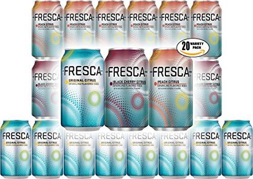 Fresca Soda, Original Citrus, Peach Citrus, Black Cherry Citrus - Variety Pack! 12 oz Can (Pack of 20, Total of 240 Oz) from Fresca