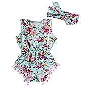 Floral Romper Baby Girls Sleeveless Tassel Bodysuit Sunsuit (18-24 Months, Green)