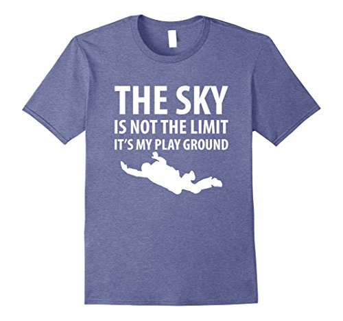 Mens The Sky is Not the Limit Skydiving T-Shirt Large Heather Blue (Blue Sky Limit)