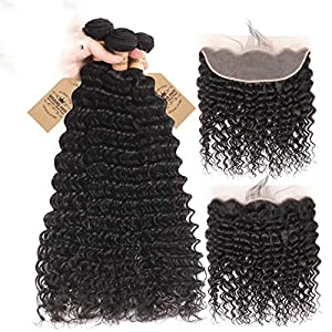 Deep Wave 3 Bundles With 13X4 Lace Frontal Brazilian Hair Weave Bundles With Closure Remy Human Hair With Baby Hair…