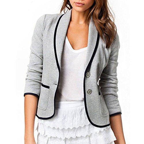corta botones negro elegante casual gris estilo dos oficina uk de chaqueta para larga Skyblue Gris manga mujer solapa fR4xq