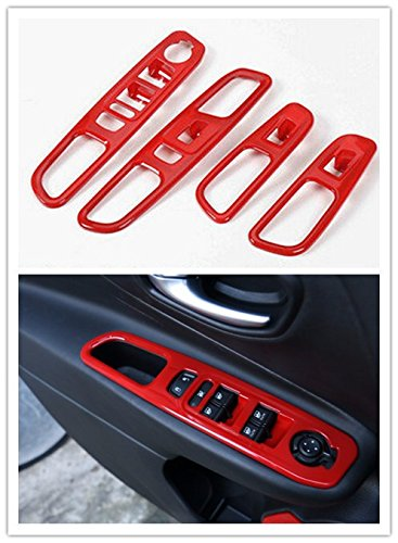 Highitem 4PCS Red Interior Door Window Glass Switch Trim Control Button Cover Ring Outlet Kits ABS For Jeep Renegade 2014Up