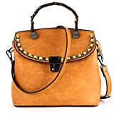 MUSAA Vintage PU Leather Purse Shoulder Bag Elegant Totes Cross-Body Handbags,Gift-worthy totes (Yellow)