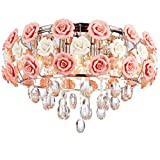 LUOLAX Romantic Ceramic Pink Rose Flower Chandelier Modern Round Crystal Pendant Lamp Hanging Ceiling Light Fixture for Girl Bedroom/Living Room/Restaurant/Dining Room Decoration(Dia 19.68Inch)