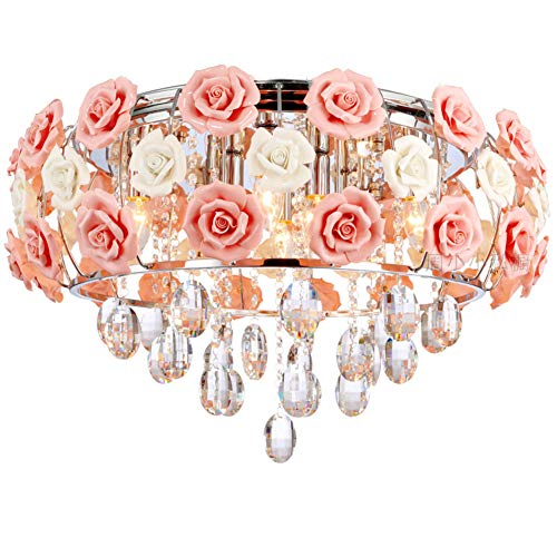 LUOLAX Romantic Ceramic Pink Rose Flower Chandelier Modern Round Crystal Pendant Lamp Hanging Ceiling Light Fixture for Girl Bedroom/Living Room/Restaurant/Dining Room Decoration(Dia 19.68Inch) (Chandelier Rose Pendant)