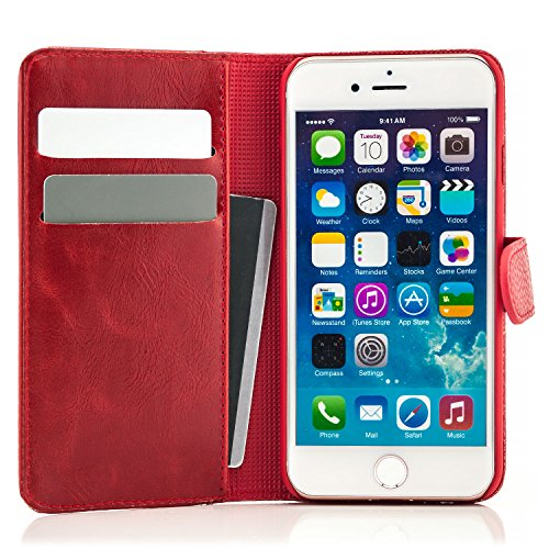 Funda iPhone 7 Funda Flip Case Cover Wallet Estilo Billetera con Ranuras para Tarjetas Rot Rojo
