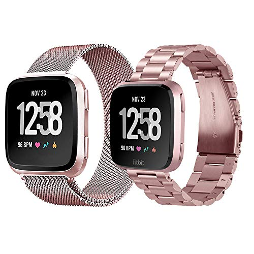 VIGOSS Metal Strap Compatible with Fitbit Versa Bands 2 Pack Stainless Steel Lite Edition Band Mesh Replacement for Fitbit Versa Lite Edition (Rose Gold)