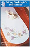 Fairway 18274 Dresser Scarf, Cross Stitch Pansy Design, White, Perle Edge