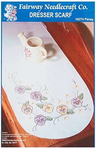 Fairway 18274 Dresser Scarf, Cross Stitch Pansy Design, White, Perle Edge by Fairway