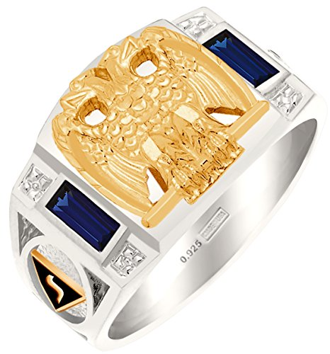 US Jewels And Gems Customizable Men's 0.925 Sterling Silver with Vermeil Emblems Simulated Sapphire Scottish Rite Masonic Ring, Size 11