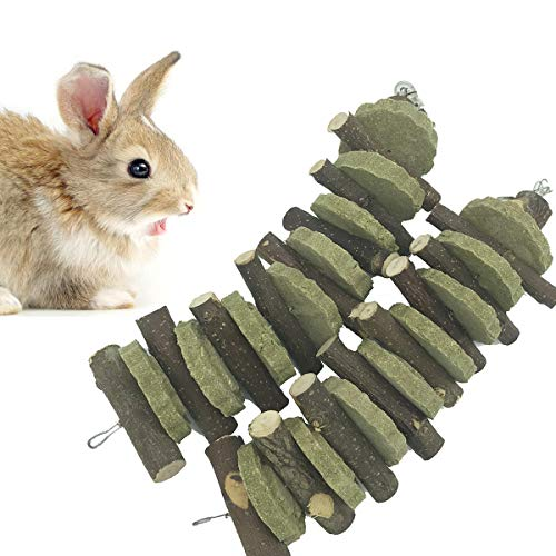 kathson Chinchilla Treats, Bunny Chew Toys for Teeth Grinding Organic Wood Apple Chewing Sticks for Rodent Pets Rats Guinea Pigs Hamsters Dwarf Rabbits Squirrels and Gerbils