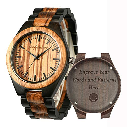 Engraved Wooden Watches, Personalized Engraved Wood Watch for Anniversary Birthday Graduation Gift for Husband Boyfriend Love Dad Mom Son Friend Japanese Movement Battery Engraved Watches