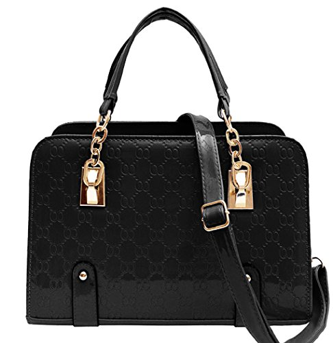 Black Leather Cream Padlock Black Shoulder Handbag Tote Coofit PU Bag Women's Fashion New Ladies wqwS7aA