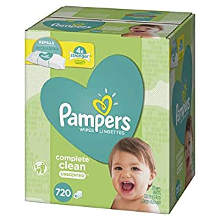 Baby Wipes, Pampers Baby Diaper Wipes, Complete Clean Unscented, 10 Refill Packs for Dispenser Tub, 720 Total Wipes