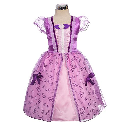 Dressy Daisy Girls' Princess Sofia Fairy Tales Costume Cosplay Fancy Party Dress Size 6
