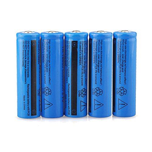 HeCloud 5PC 3.7V Li-on 5000mAh 18650 Battery Rechargeable 18650 Batteries for LED Flashlight