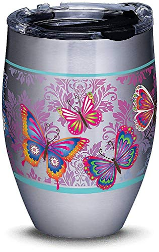Tervis 1298864 Butterfly Motif Stainless Steel Insulated Tumbler with Clear and Black Hammer Lid, 12oz, Silver