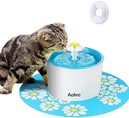 AOLVO Bebedero Automático Silencio, Fuente de Agua para Perros/Gatos, con 1.6L Circulante, 2 Filtros,1 Margaritas y 1 Estera de Silicona (Azul)