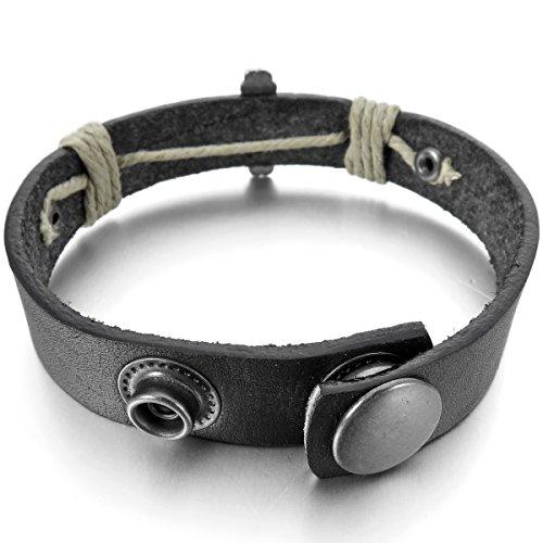 MunkiMix Alliage Genuine Leather Véritable Bracelet Bracelet Menotte Noir Ton d'Argent Jésus Chrétien Crucifix Croix Réglable Homme
