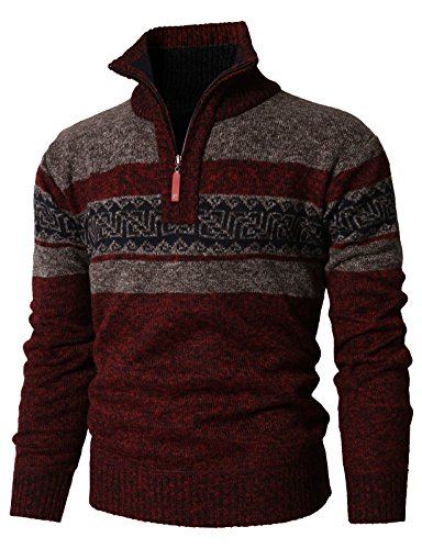 H2H Mens Quarter Zip Acrylic Knitted Checker Blocks Plaid Designer Men's Sweater RED US M/Asia M (KMOSWL0237)