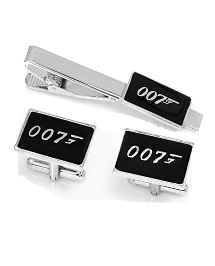 Fashion Jewelry ~ Silvertone James Bond 007 Tie Clips & Cufflinks Set (S Wyf Jb 007 A)