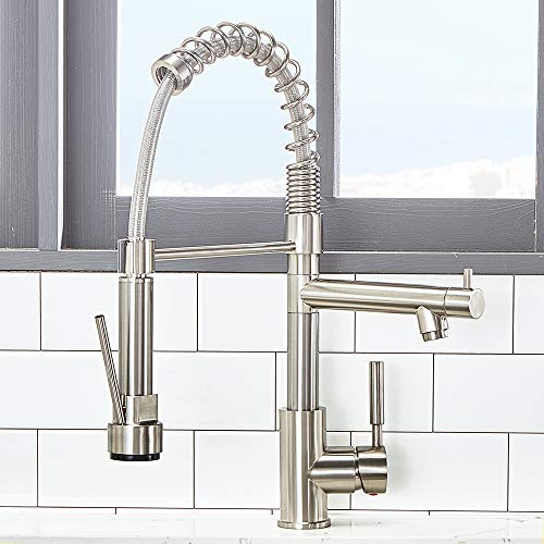 - VCCUCINE Modern Solid Brass Single Lever High Arch 2 Spouts Pull Out Sprayer Brushed Nickel Kitchen Faucet, Stainless Steel Kitchen Sink Faucets