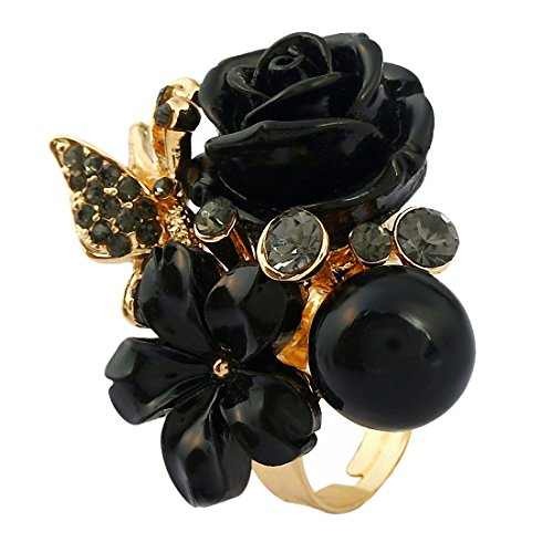 Ahugehome Women Rose Flower Rings Enamel Crystal Wedding Cocktail Tea Party (D Pearl Rose Lily ()