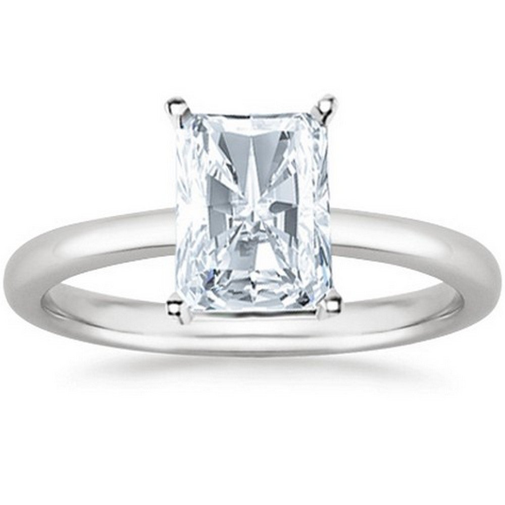 14K White Gold Radiant Cut Solitaire Diamond Engagement Ring (1.5 Carat I Color SI2 Clarity)