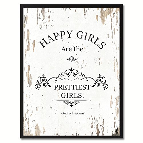 SpotColorArt Happy Girls Are The Prettiest Girls Audrey Hepburn Quote Saying Canvas Print Picture Frame Home Decor Wall Art Gift Ideas