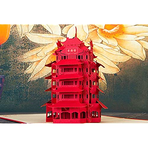 MADE4U Yellow Crane Tower The Kirigami Papercraft 3D Pop Up Card Anniversary Baby Birthday Easter Halloween Mother's Sales