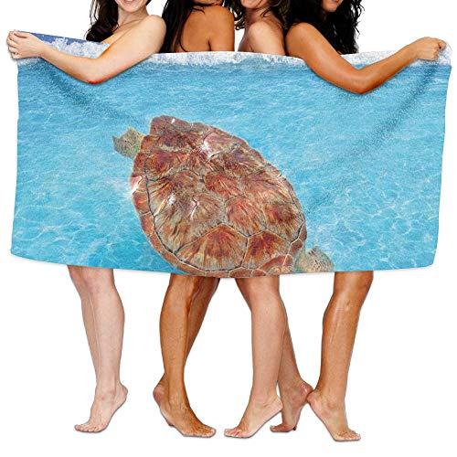 Haixia Thick Bath Towel Turtle Sea Turtle Chelonia Mydas On Water Surface Caribbean Beach Tropics Full Violet Blue Aqua Light Brown