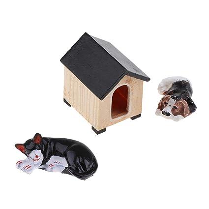 Baoblaze Modelismo Juegos Educativos de Gato Perrito y Caseta de Perro Accesorios DIY para Jardín de