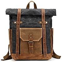 TOOGOO Vintage Oil Waxed Canvas Leather Backpack Large Capacity Teenager Traveling Waterproof Daypacks 14 Laptops Rucksack Black