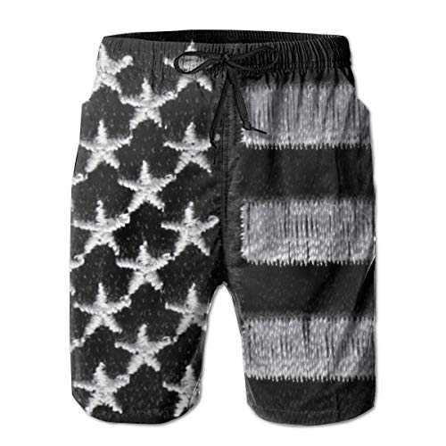 SipshortSM Casual Design Men Black White American Flag Beach Shorts Ultra-Light Double Side Pockets Cool Beach Boardshort ()