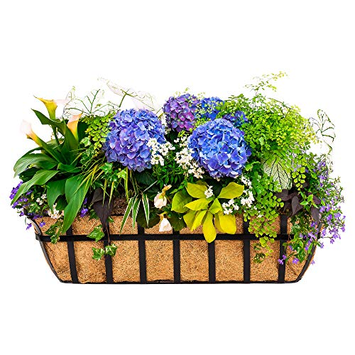 - Best Choice Products 30in Hanging Metal Garden Trough Planter Basket for Window, Fence w/ 2 Hooks, Coco Liner - Black
