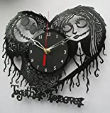 The Nightmare Before Christmas Vinyl Clock Record Wall Clock Handmade Fan Art Decor Unique Decorative Vinyl Clock12' (30 cm)