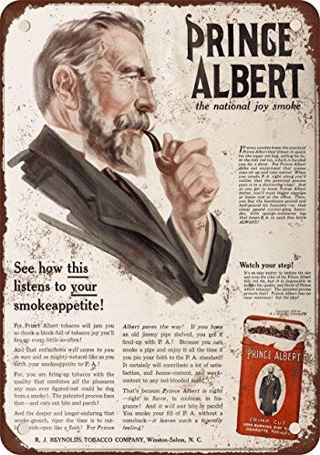 (1916 Prince Albert Crimp Cut Pipe and Cigarette Tobacco Vintage Look Reproduction Metal Tin Sign 8X12 inches)