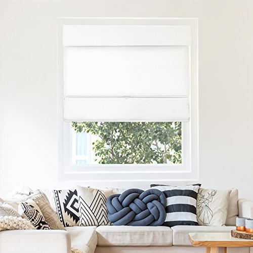 (Chicology Cordless Magnetic Roman Shades / Window Blind Fabric Curtain Drape, Thermal, Light Filtering - Mountain Snow, 33