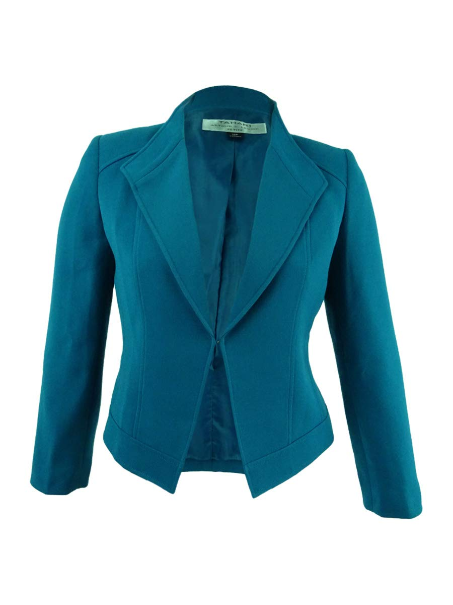 Tahari ASL Women's Petite Wing-Collar Seamed Jacket (12P. Gotham Blue)