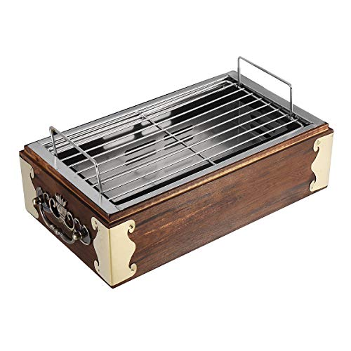 SENREAL Portable BBQ Grill BBQ Grill Barbecue Cooking Household BBQ Stove Stainless Steel Wood