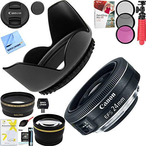 Canon EF-S 24mm f/2.8 STM Camera Lens with Pro 52mm Tulip Hood and 52mm Filter Sets Plus Accessories Bundle by Beach Camera