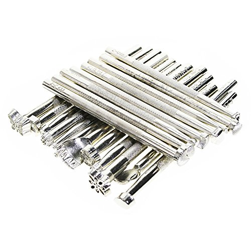 BIGTEDDY – 20pcs Leather Working Saddle Making Stamps Tools Set for Leathercraft Carving DIY Handmade Art (Silver)