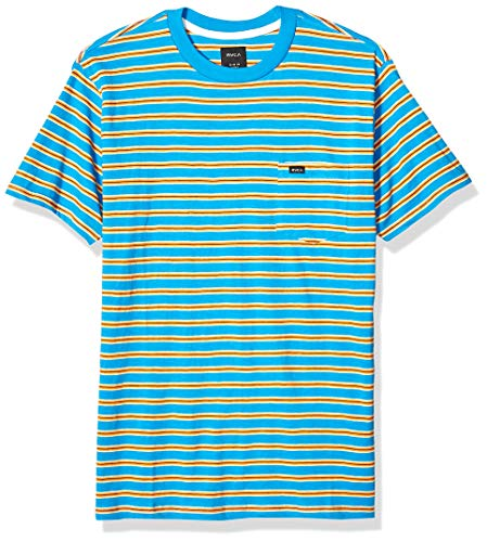 RVCA Men's Vincent Stripe Short Sleeve Crew Shirt, Blue Cruz, XL (Rvca Shirt Crew)