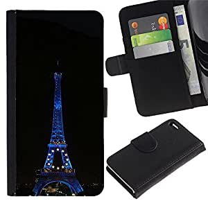Leather Case Wallet Flip Card Pouch Soft Holder for Apple Iphone 4 / 4S / CECELL Phone case / / Architecture Eiffel Tower At Night /