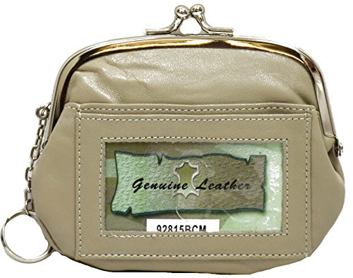 Womens Leather Coin Purse Mini Wallet Metal Frame Id Window Credit Card Case Kiss Lock (taupe) ()