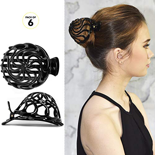 RC ROCHE ORNAMENT Womens Shell Dome Round Circle Stylish Plastic Strong Grip Hinge Side Slide Bun Maker Clips Girls Beauty Accessory Hair Clip, 6 Pack Count Large Black (Cute Hairstyles For Short Curly Hair For Teenagers)