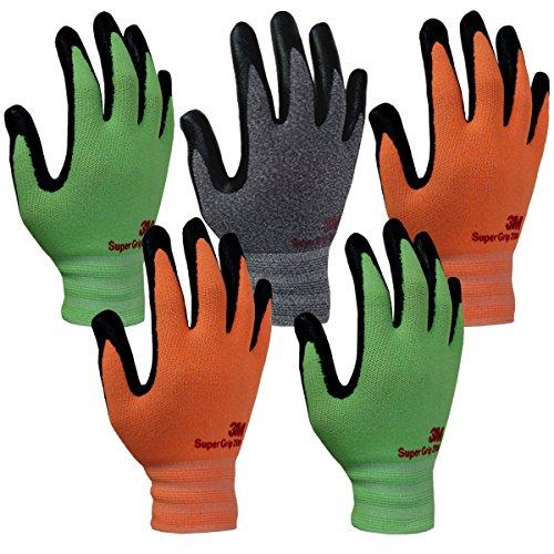 3M Comfortable Grip Nitrile Foam Coated Gardening Work Gloves(5pk) (Large, Assorted(Gray, Green, Orange))